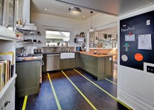 Marmoleum Linoleum Flooring by Forbo adds stripes to the kitchen