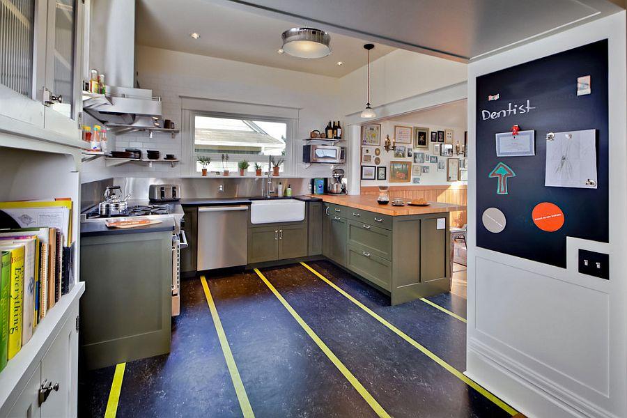 Hot trend 20 tasteful ways to add stripes to your kitchen for Black lino kitchen flooring