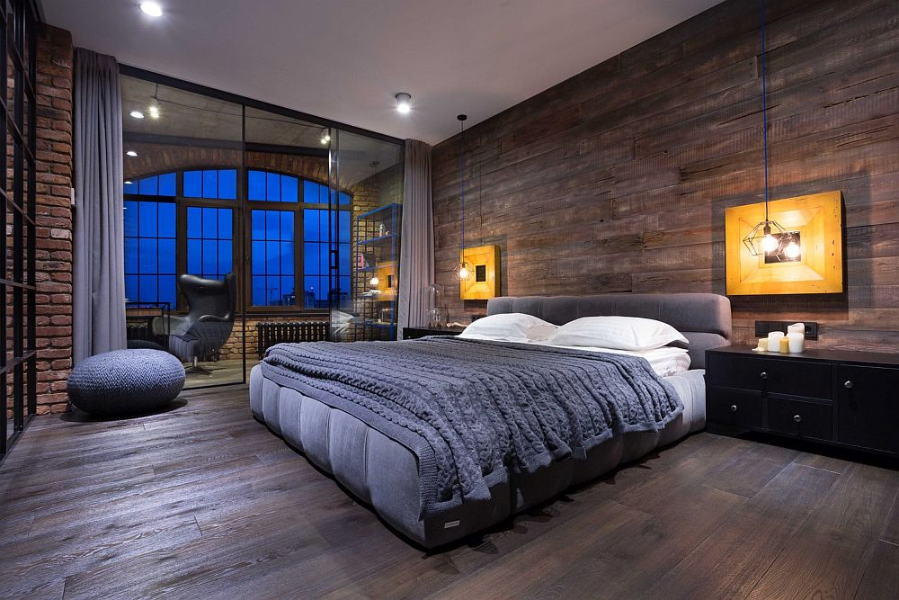 Masculine bedroom design idea for the modern loft