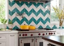 Mediterranean kitchen with a chevron pattern backsplash