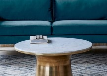 Metal and marble pedestal coffee table from West Elm