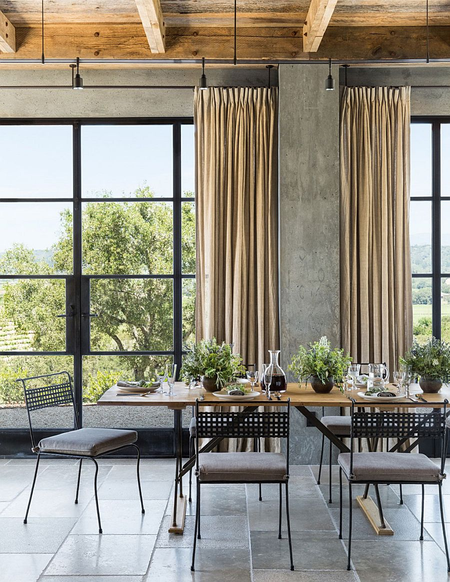 Refined earthy escape serene stone and glass vacation for Industrial windows for homes