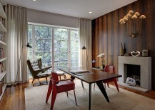 Midcentury modern home office with smart decor