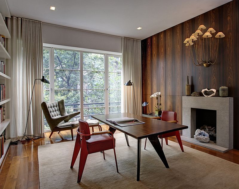 Midcentury modern home office with smart decor [Design: d'apostrophe design]