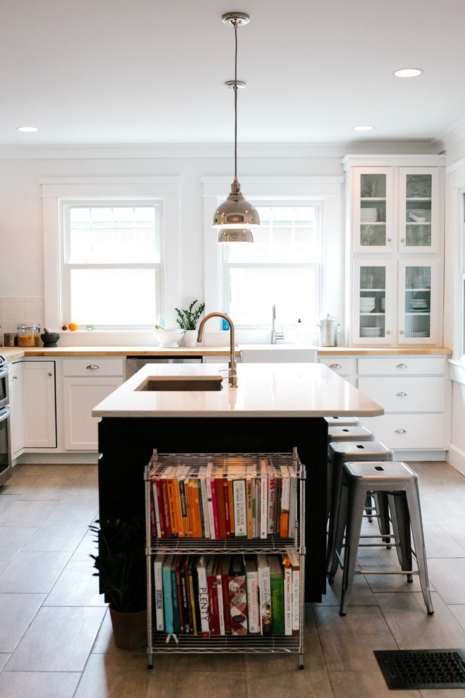 Kitchen Island With Books Shelf Ideas