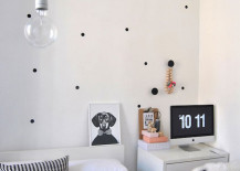 Minimal black polka dot wall decals in bedroom 217x155 8 Fun and Easy Ways to Use Polka Dot Wall Decals