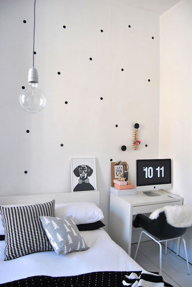 Minimal black polka dot wall decals in bedroom