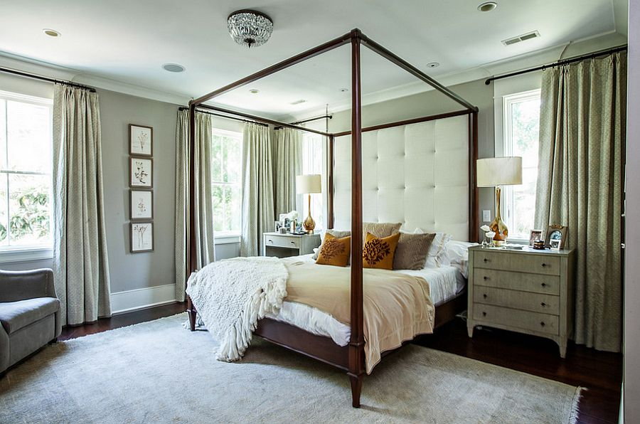 Mismatched nightstands in similar hue for the contemporary bedroom [Design: Cortney Bishop Design]