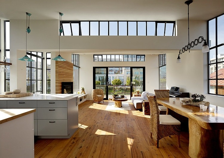 View In Gallery Modern Floating Home In San Francisco Large Open Living Area
