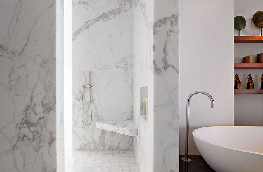 Modern bathroom that is all about marble [Design: Zack|de Vito Architecture + Construction]