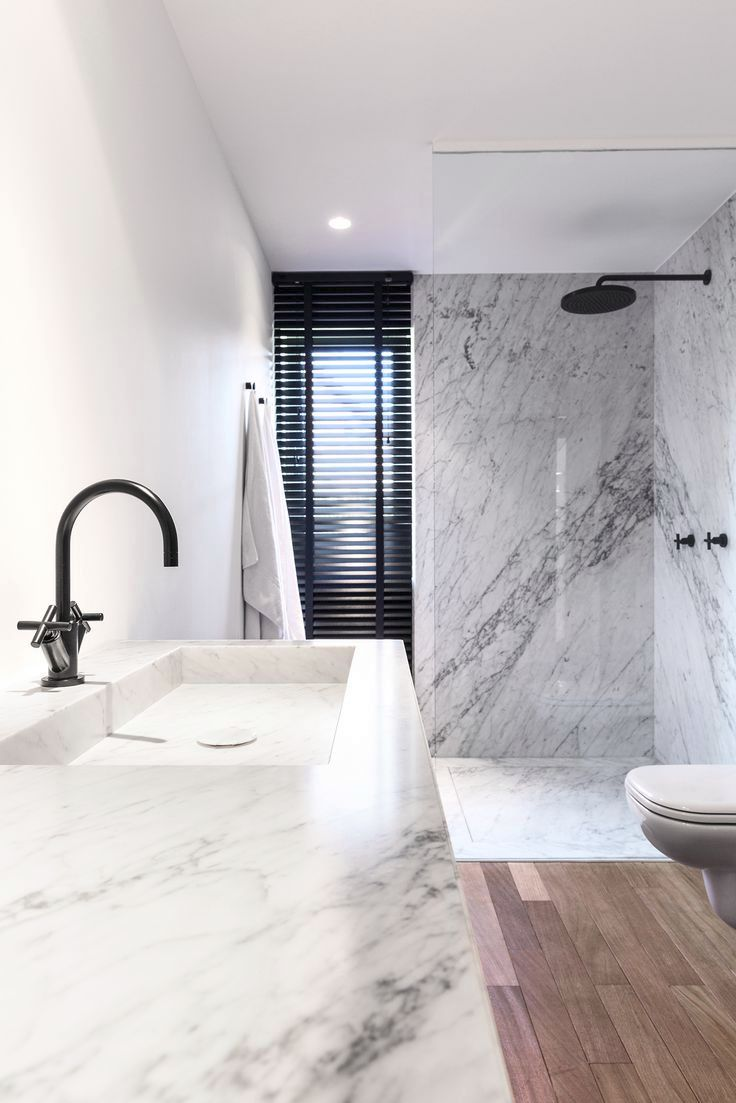 Modern bathroom with a marble shower