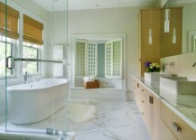 Modern bathroom with large floor tiles