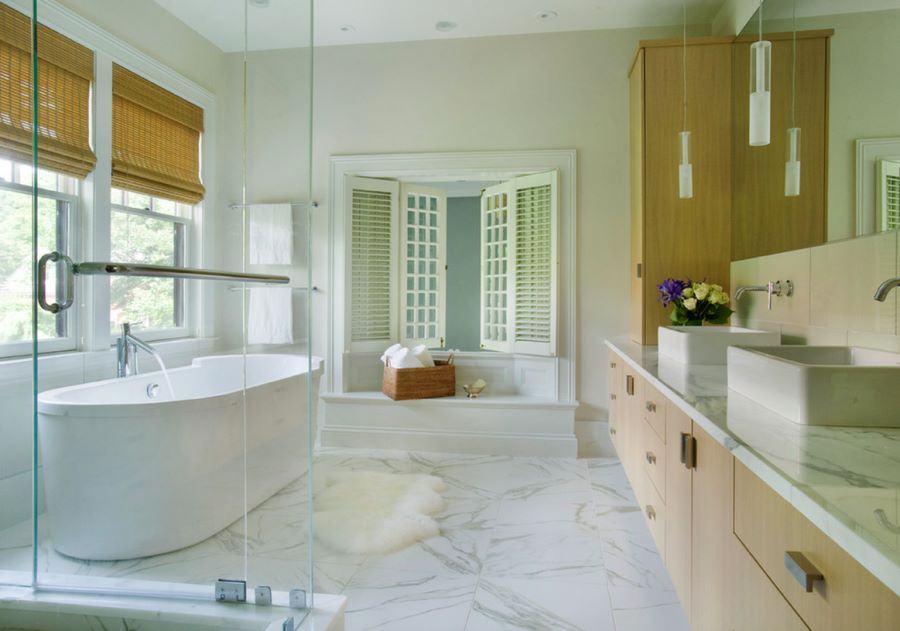 Modern bathroom with large floor tiles