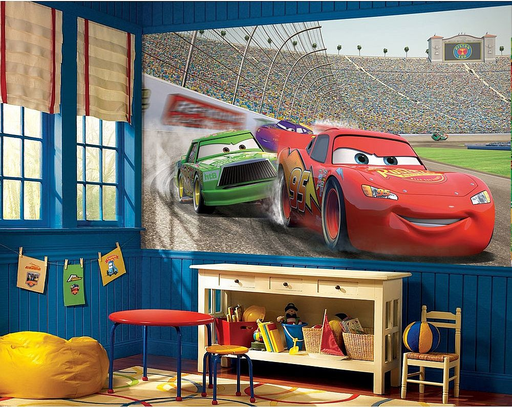 Modern bedroom with Disney Cars themed decor and wall decal [From: oBedding]
