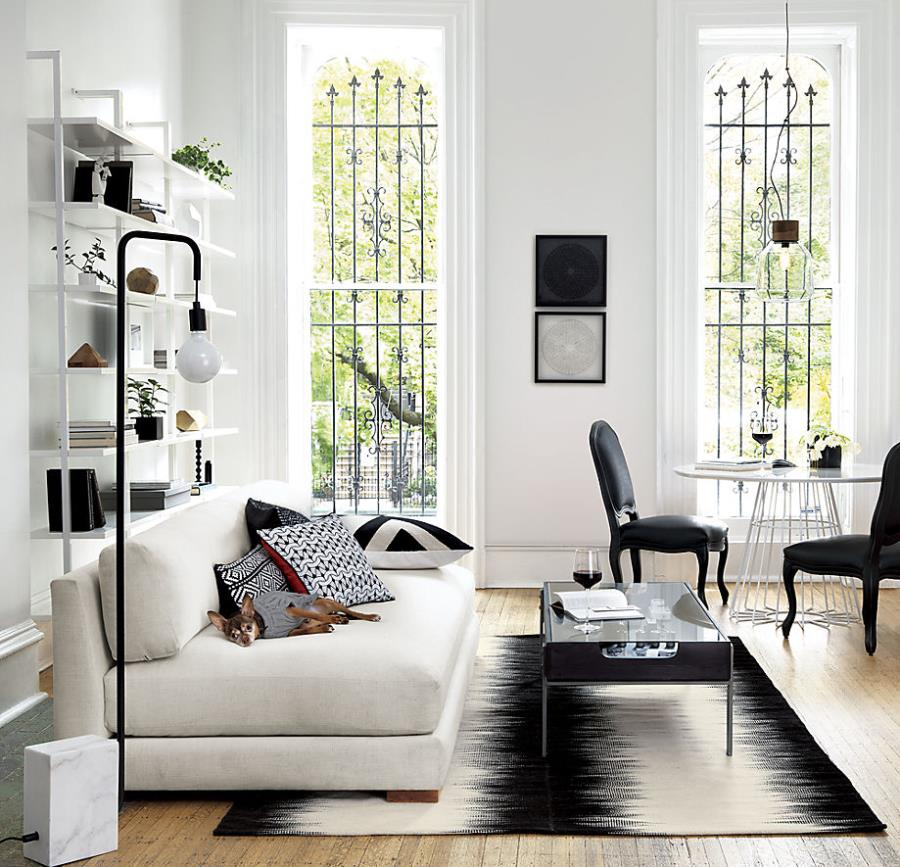Modern black and white rug from CB2