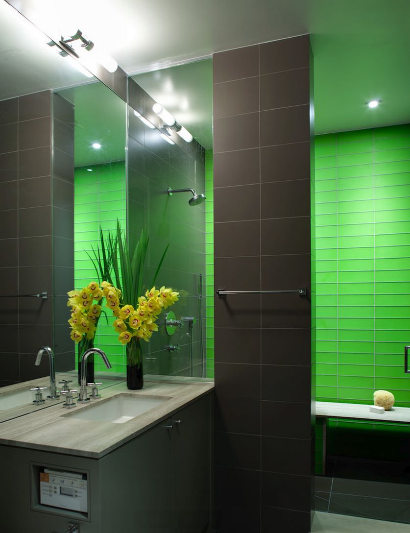 Modern shower with bright green tile