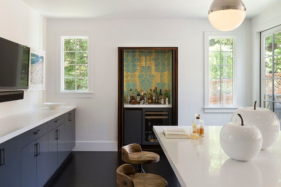 Monaco Wallpaper for the tiny home bar in the backdrop [Design: Ann Lowengart Interiors]