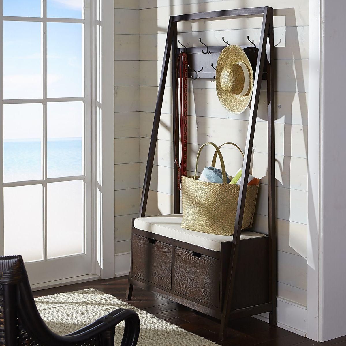 pottery barn entryway furniture. View In Gallery Morgan Hall Tree Bench Tuscan Brown Pottery Barn Entryway Furniture