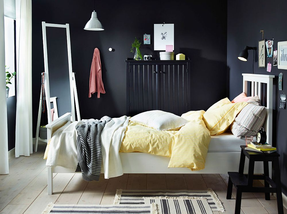 Awesome Bedroom With Scandinavian Beauty With Smart BREIM Wardrobe View In Gallery  NYPONROS Bed Frame Stands In Contrast To The Dark Backdrop And Sideboard