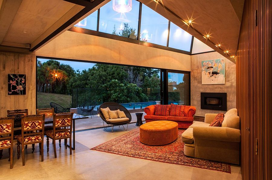 Natural light and ambient lighting add to the glow of the New Zealand home