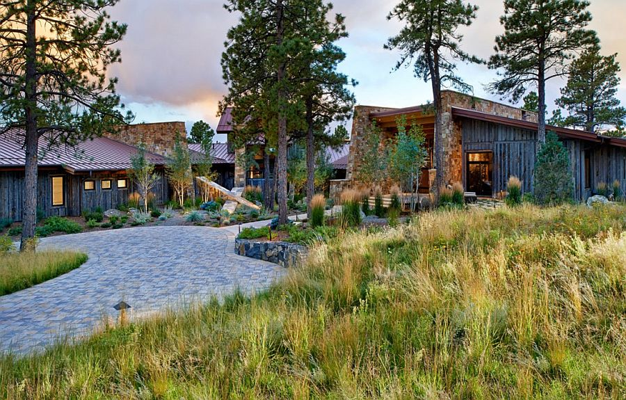 Natural walkways and canopy offer perfect cover for the relaxing Evergreen home