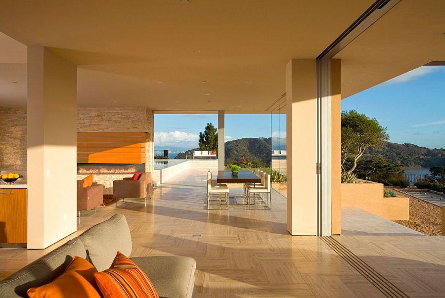 Open plan living area of lavish Garay Residence