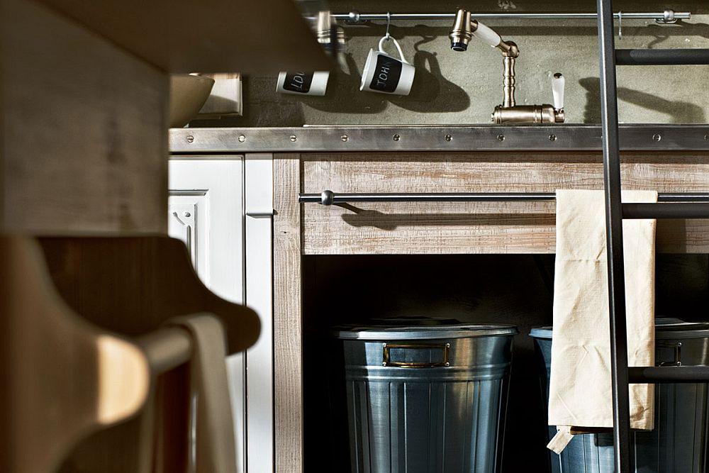 Open storage options under the kitchen workstation