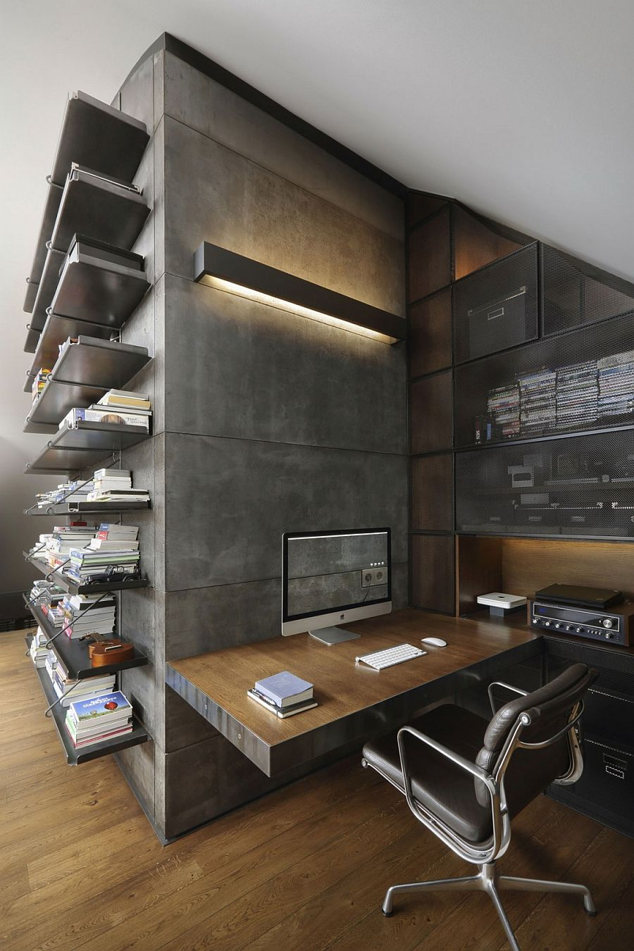 Organized home workspace with open shelves