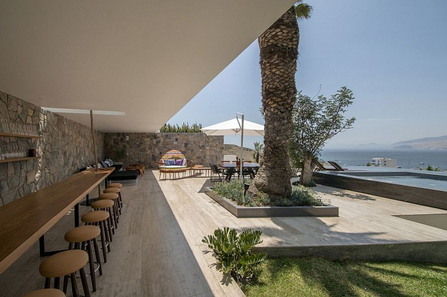 Outdoor bar, lounge and pool area added to the gorgeous Ancón House