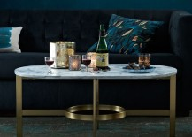 Oval marble coffee table from West Elm