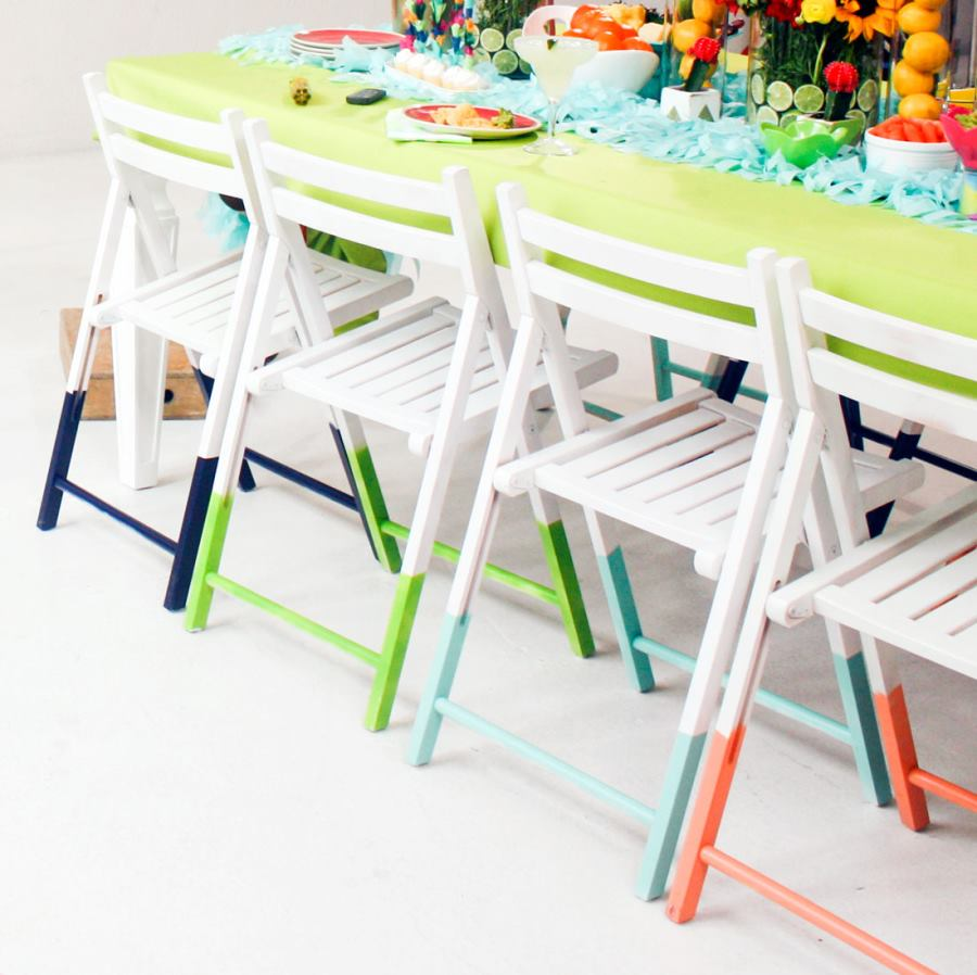 Paint-dipped chairs from Brit + Co.