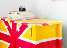 Painted dresser in red and yellow