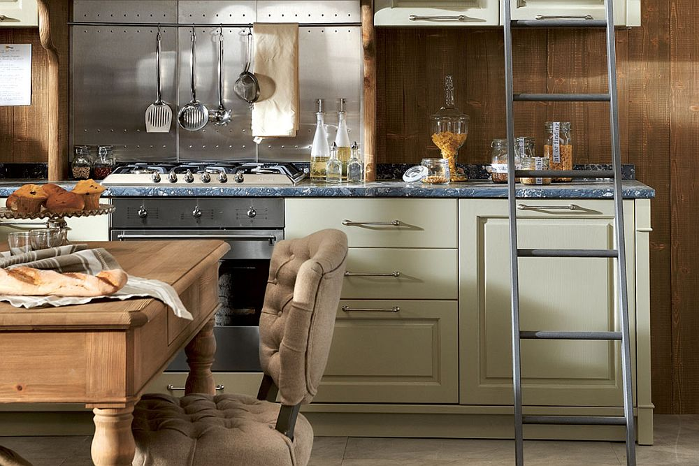 Painted wood kitchen drawers with handcrafted details and sparkling handles