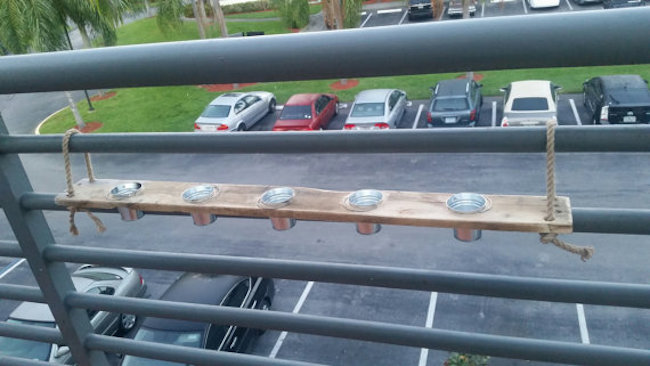 Pallet wood balcony candle holder