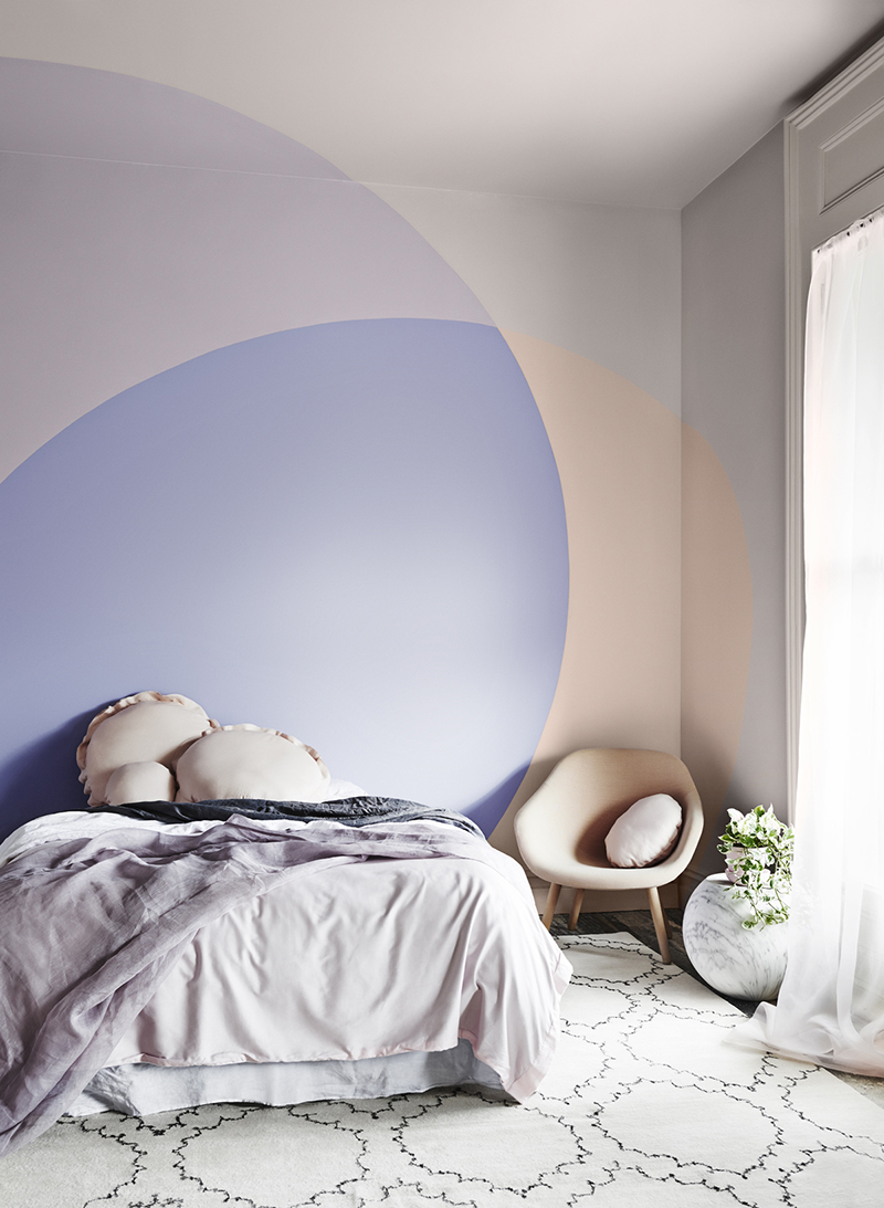 Paint Designs For Bedroom get 20 modern paint colors ideas on pinterest without signing up View In Gallery Peach And Purple Color Blocked Paint With Overlapping Effect