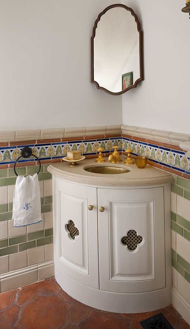 Perfect sink and vanity for the Spanish Colonial setting [Design: Astleford Interiors]
