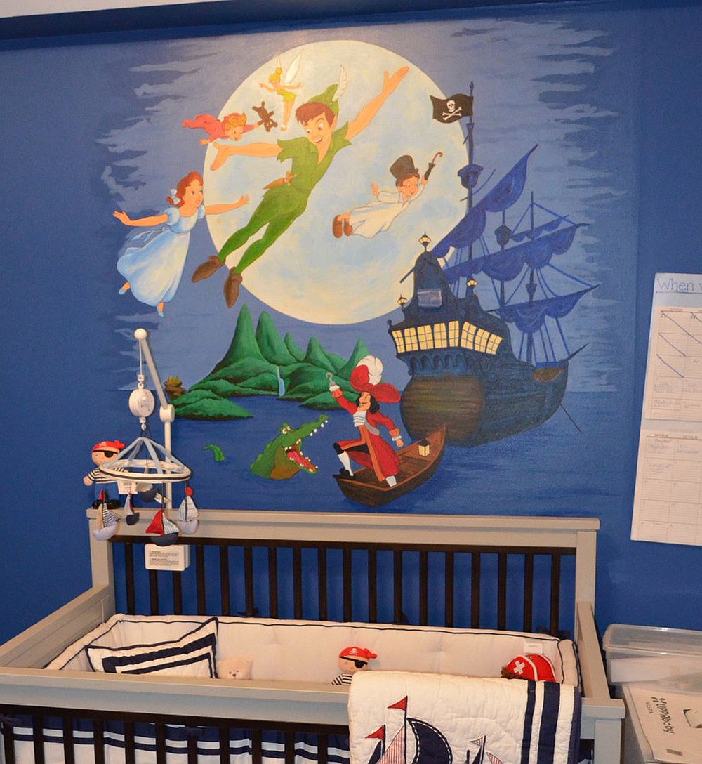 Peter Pan wall mural for contemporary nursery [Design: Artistry for Spaces]