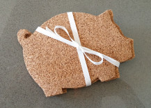 Pig-Shaped Coaster Made of Cork