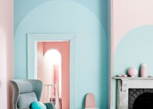 Pink and blue color blocked paint with arc designs 217x155 22 Clever Color Blocking Paint Ideas to Make Your Walls Pop