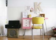 Pink painted desk from Skunkboy