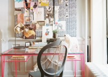 Pink painted metal desk