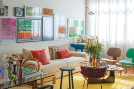 Plain, bright yellow area rug in colorful living room  25 Yellow Rug and Carpet Ideas to Brighten up Any Room Plain bright yellow area rug in colorful living room
