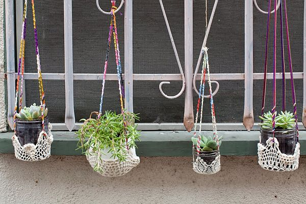 Plant hangers made from doilies