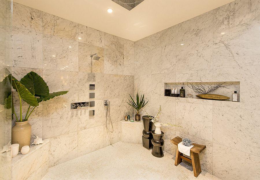 Plants bring the tropical flavor to this bathroom [Design: Charmaine Werth]