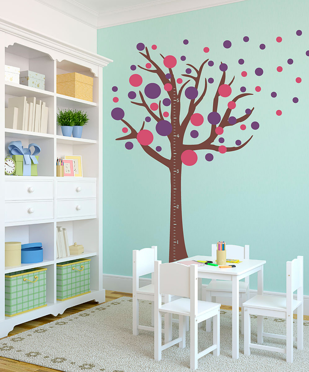 Polka dot decals with tree design
