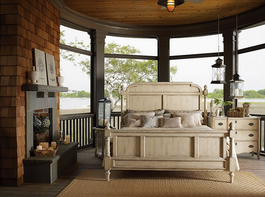 Porch bedroom with innovative lighting options [Design: Furnitureland South]