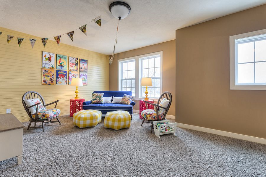 Posters of Disney movies add color to the kids' playroom [Design: Allen Edwin Homes]