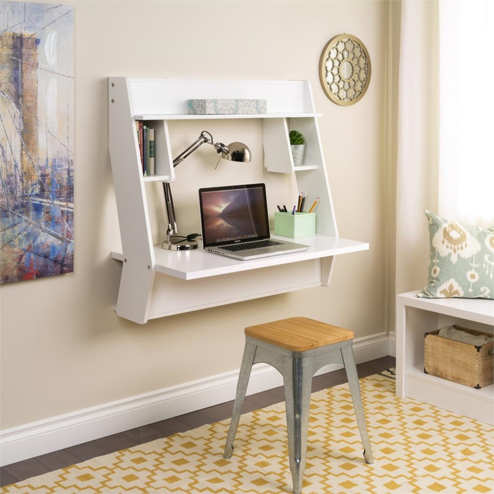Prepac Studio Floating Desk in White with Yellow Pattern Rug 8 Wall Mounted Desks That Save Room in Small Spaces