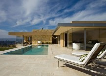 Private deck of the Posh Californian home with a tranquil pool