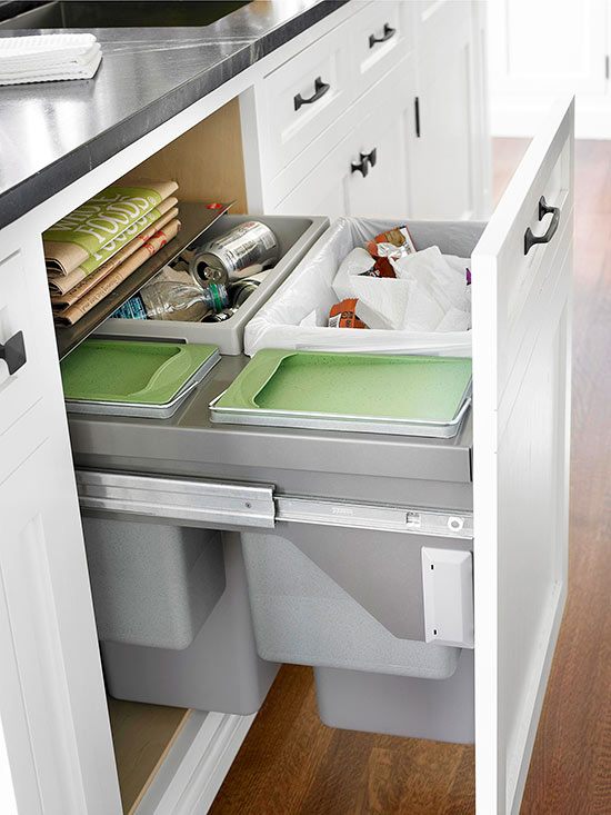 Pullout cabinet drawers for trash and recycling